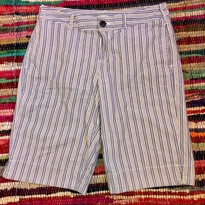 merona women's khaki striped bermuda lake shorts🏞